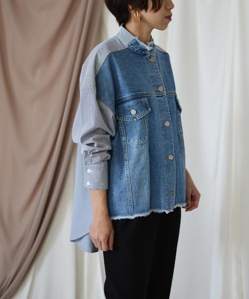 【Eimee Law】デニム×ストライプ切替ジャケット