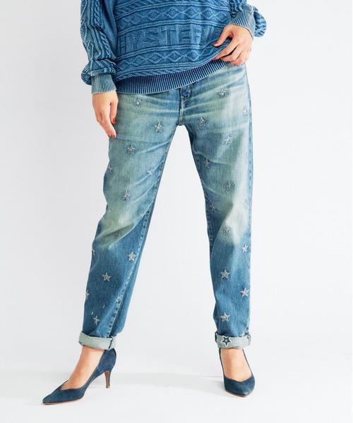 SEQUIN STAR刺繍 テーパードスリムデニムパンツ