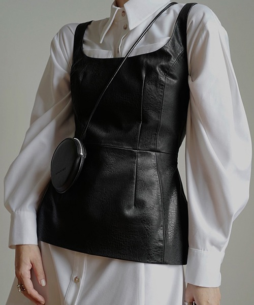 【chuclla】【2021/SS】Shape silhouette pu-leather vest chw1432