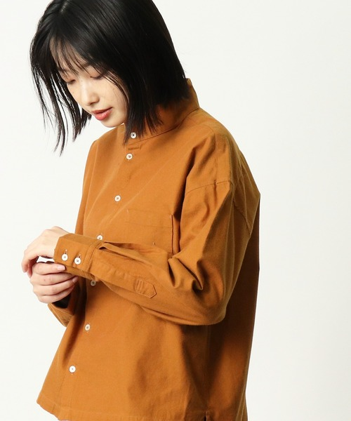 【 GRANDMA MAMA DAUGHTER / グランマ ママ ドーター 】 スタンドカラーショートシャツ GS932391 KTI・・