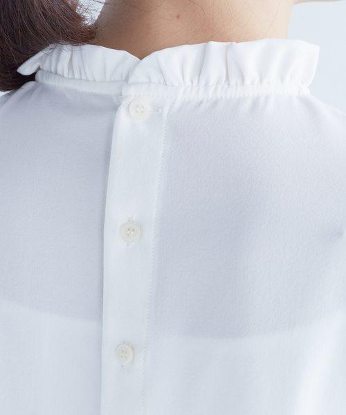 着るだけで簡単重ね着風、フリル衿のブラウス