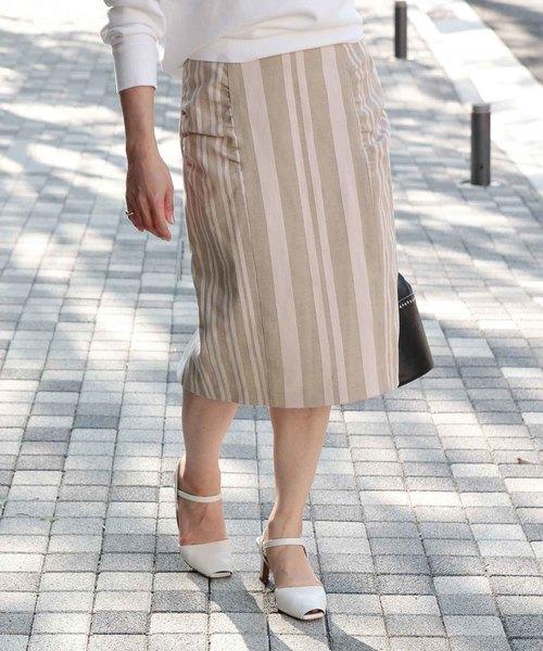 ROPE' mademoiselle(ロペマドモアゼル)の「【ドラマ着用】ストライプコクーンタイトスカート(スカート)」|ピンク