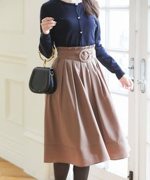 tocco closet(トッコ クローゼット)のベルト付きウエストプチフリル装飾フレアスカート(スカート)