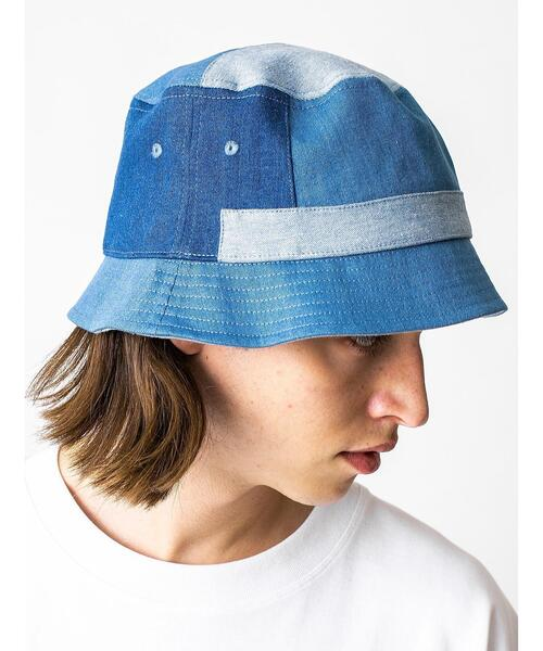 <monkey time> PATCH WORK DENIM BUCKET HAT/バケットハット