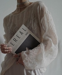 【chuclla】【2021/SS】See-through flower crinkle blouse sb-5 chw1433ホワイト