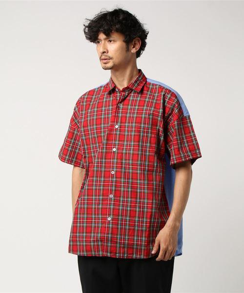 コンビチェックドロップシャツ
