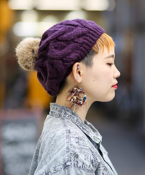 無(ム)の「ボンボンニットベレー(ハンチング/ベレー帽)」|パープル