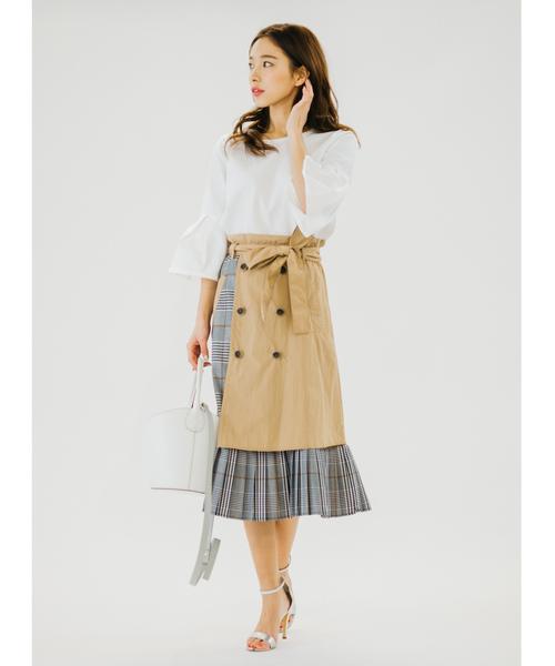 Re.Verofonna(ヴェロフォンナ)の「チェック切替トレンチプリーツスカート(スカート)」|ベージュ