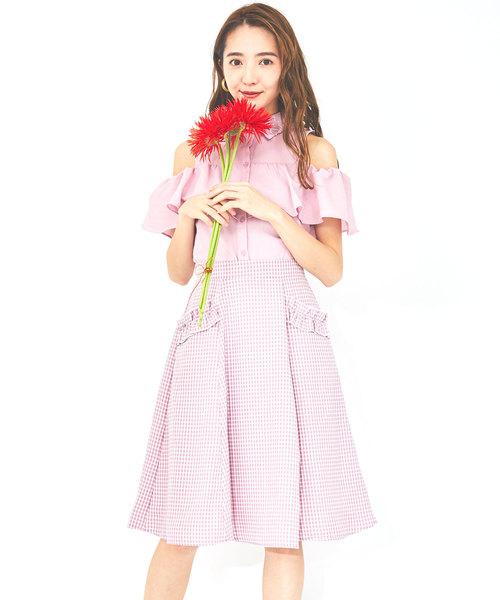 ギンガムフリルポケットスカート