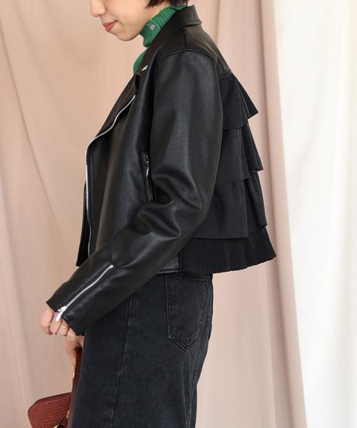 【Eimee Law】バックフリル&プリーツレディライダースジャケット