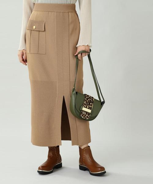 ROSE BUD(ローズバッド)の「(5-KNOT)ニットスカート(スカート)」|ブラウン