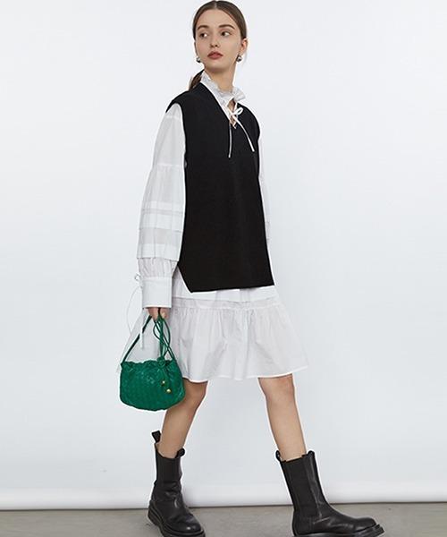 【Fano Studios】【2021SS】V-neck side slit knit vest FC21S145