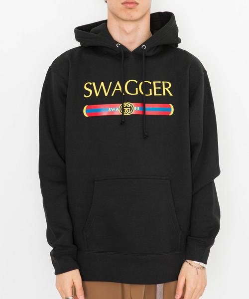 【SWAGGER】《WEB限定》カラーバーロゴプリントスウェットプルオーバーパーカー