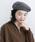 merlot(メルロー)の「ウール混ヘリンボーン柄ベルト付きベレー帽8112(ハンチング/ベレー帽)」 チャコールグレー