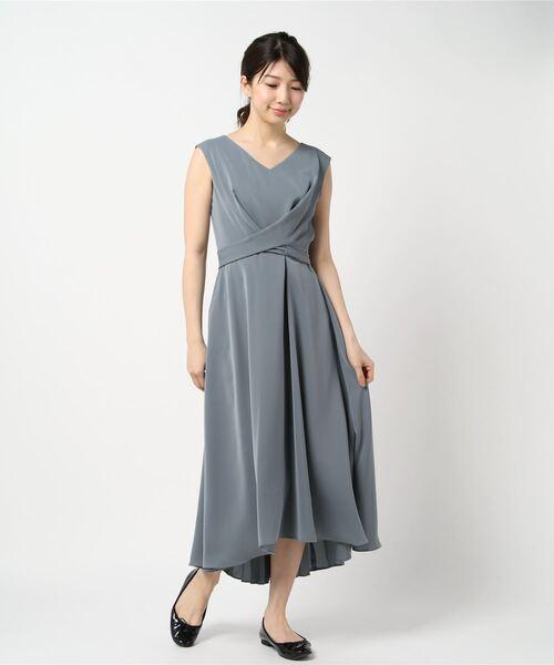 Dorry Doll(ドリードール)の「ノースリーブバックプリーツスカート ミモレ丈ワンピースドレス Luxe brille(ドレス)」|ライトカーキ