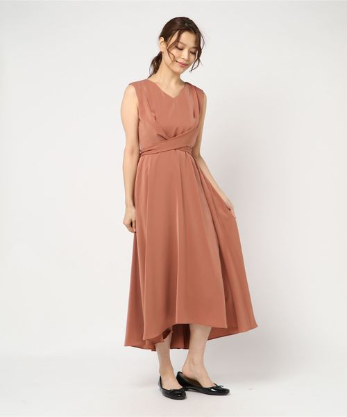 Dorry Doll(ドリードール)の「ノースリーブバックプリーツスカート ミモレ丈ワンピースドレス Luxe brille(ドレス)」|ブラウン系その他