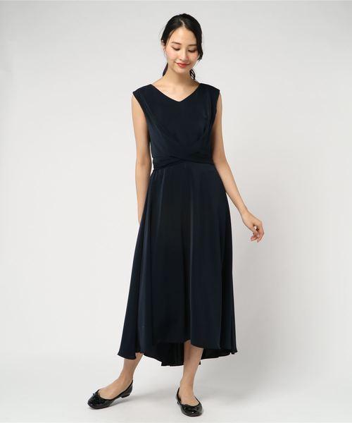 Dorry Doll(ドリードール)の「ノースリーブバックプリーツスカート ミモレ丈ワンピースドレス Luxe brille(ドレス)」|ネイビー