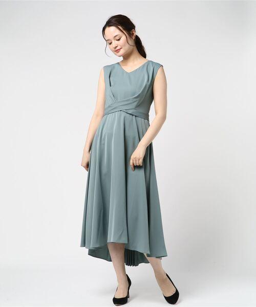 Dorry Doll(ドリードール)の「ノースリーブバックプリーツスカート ミモレ丈ワンピースドレス Luxe brille(ドレス)」|ミント