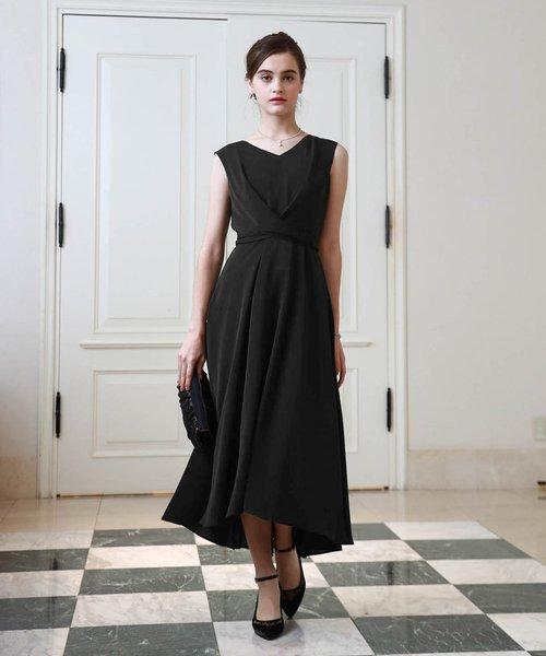 Dorry Doll(ドリードール)の「ノースリーブバックプリーツスカート ミモレ丈ワンピースドレス Luxe brille(ドレス)」|ブラック