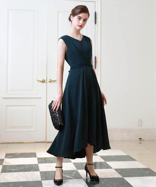 Dorry Doll(ドリードール)の「ノースリーブバックプリーツスカート ミモレ丈ワンピースドレス Luxe brille(ドレス)」|ダークグリーン