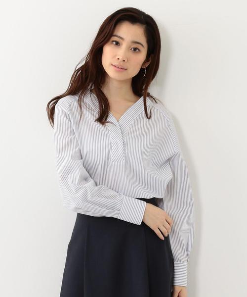 <closet story>ギンガム/ストライプ Vネックシャツ