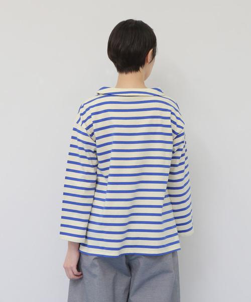 ロールカラーボーダーシャツ