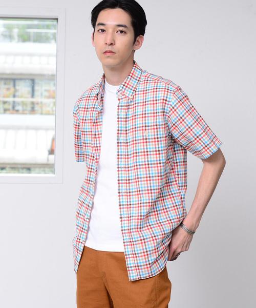 綿麻チェックボタンダウンシャツ