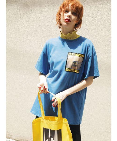 jouetie(ジュエティ)の「フォトBIG T(Tシャツ/カットソー)」|ブルー