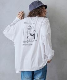 ビッグシルエット イラストデザイン クルーネック長袖Tシャツ-2021SPRING-ホワイト系その他
