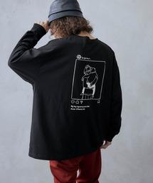 ビッグシルエット イラストデザイン クルーネック長袖Tシャツ-2021SPRING-ブラック系その他