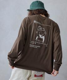 ビッグシルエット イラストデザイン クルーネック長袖Tシャツ-2021SPRING-ブラウン系その他