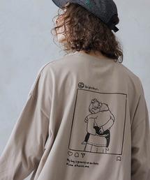 ビッグシルエット イラストデザイン クルーネック長袖Tシャツ-2021SPRING-ベージュ系その他