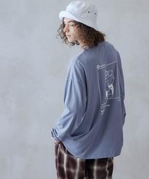 ビッグシルエット イラストデザイン クルーネック長袖Tシャツ-2021SPRING-ブルー系その他