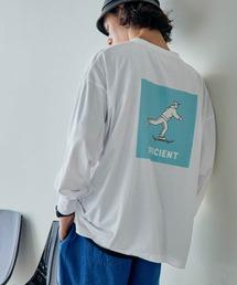 ビッグシルエット イラストデザイン クルーネック長袖Tシャツ-2021SPRING-ホワイト系その他2