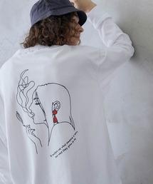 ビッグシルエット イラストデザイン クルーネック長袖Tシャツ-2021SPRING-ホワイト系その他3