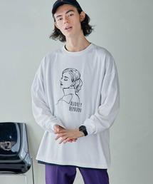 ビッグシルエット イラストデザイン クルーネック長袖Tシャツ-2021SPRING-ホワイト系その他4