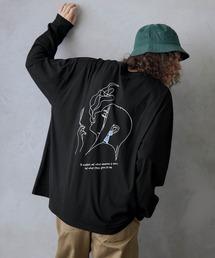 ビッグシルエット イラストデザイン クルーネック長袖Tシャツ-2021SPRING-ブラック系その他3