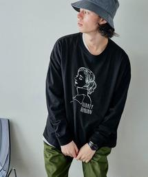 ビッグシルエット イラストデザイン クルーネック長袖Tシャツ-2021SPRING-ブラック系その他4