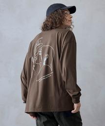 ビッグシルエット イラストデザイン クルーネック長袖Tシャツ-2021SPRING-ブラウン系その他3