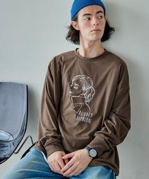 ビッグシルエット イラストデザイン クルーネック長袖Tシャツ-2021SPRING-ブラウン系その他4