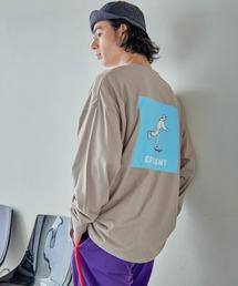 ビッグシルエット イラストデザイン クルーネック長袖Tシャツ-2021SPRING-ベージュ系その他2