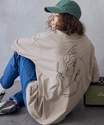 ビッグシルエット イラストデザイン クルーネック長袖Tシャツ-2021SPRING-ベージュ系その他3