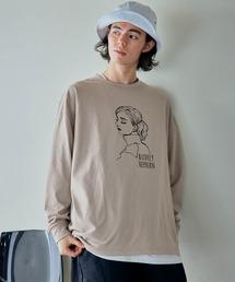 ビッグシルエット イラストデザイン クルーネック長袖Tシャツ-2021SPRING-ベージュ系その他4