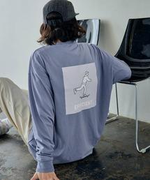 ビッグシルエット イラストデザイン クルーネック長袖Tシャツ-2021SPRING-ブルー系その他2