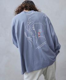 ビッグシルエット イラストデザイン クルーネック長袖Tシャツ-2021SPRING-ブルー系その他3