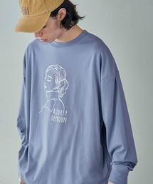 ビッグシルエット イラストデザイン クルーネック長袖Tシャツ-2021SPRING-ブルー系その他4