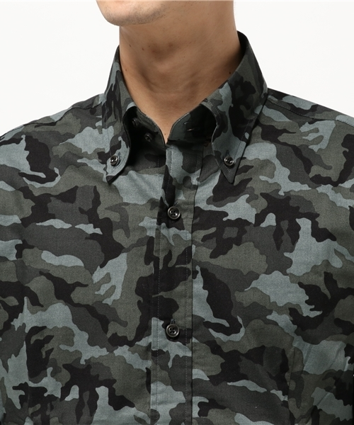 【Garcon Wave】日本製/カモ柄ブロードデュエボタンダウンシャツ