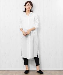 mili an deni(ミリアンデニ)の綿ローンサイドスリットロングシャツ(シャツ/ブラウス)