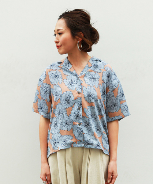 ◆花柄開衿シャツ