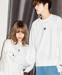 【BASQUE -enthusiastic design-】FILA/フィラ BASQUE magenta 別注 ロゴ刺繍オーバーサイズ プルオーバースウェットホワイト